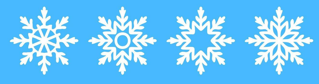 snowflake icons on blue. Winter weather. Winter weather forecast. Vector