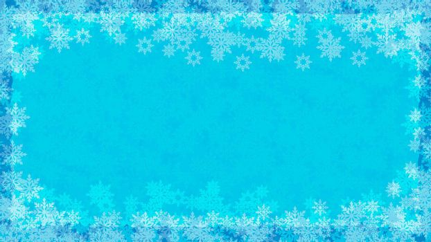 Winter background with snowflakes and effect of frost on glass. Festive background for winter design. Background color in separate layer is easy to edit. Vector
