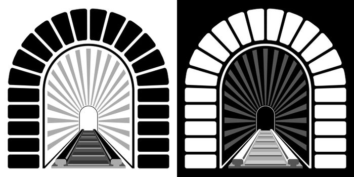 entrance to railway arched tunnel. Path into unknown, overcoming fears and obstacles. Minimalistic vector