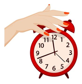 woman hand turns off the alarm. Fatigue and insomnia. Time to wake up concept. Cartoon vector