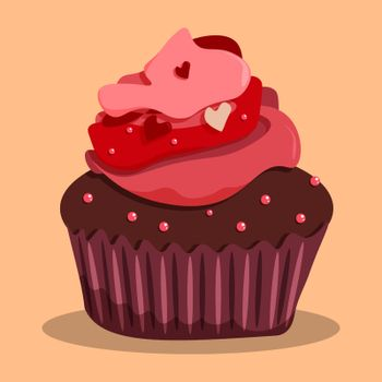 delicious chocolate cupcake with pink cream and hearts on top. Confectionery. Dessert for festive tea party. Vector