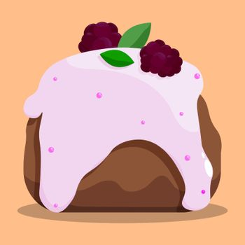 delicious fresh cake with white confectionery glaze and blackberries on top. Confectionery. Dessert pancake for festive tea party. Vector