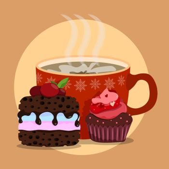 large mug of hot cocoa with delicious chocolate brownies. Delicious desserts for winter evening. New Year holidays at home table. Vector