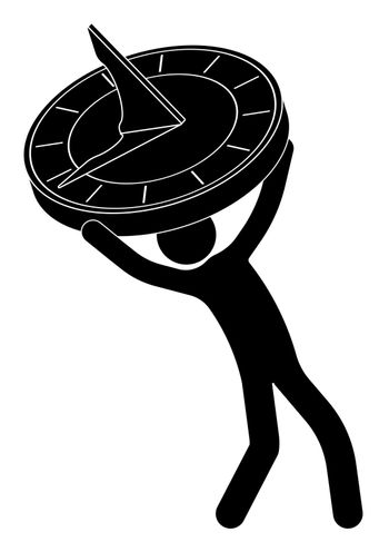 stick figure, man holding sundial clock in his hands. Time management. Life of modern person in big city. Vector