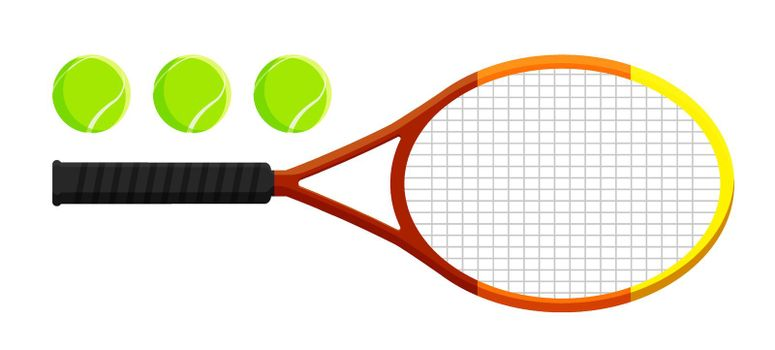 set of tennis racket and ball in flat style. Tennis equipment. Active lifestyle. Vector