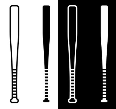 sports baseball bat in black and white simple style. American baseball is national sport. Vector