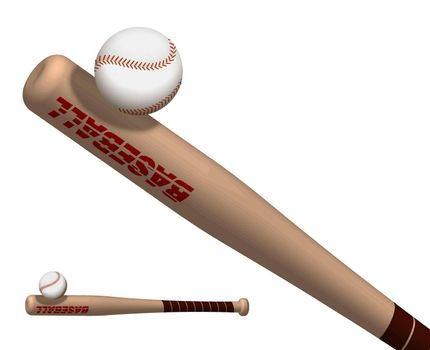 sports wooden baseball bat powerfully hits flying ball. American national sport. Active lifestyle. Realistic vector