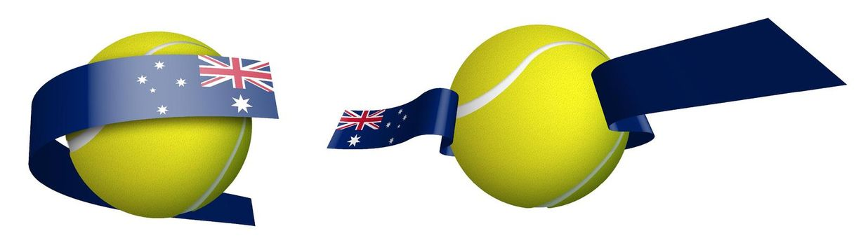 sports tennis ball in ribbons with colors Australian flag. Design element for tennis competitions. World tennis competitions in Australia. Isolated vector on white background