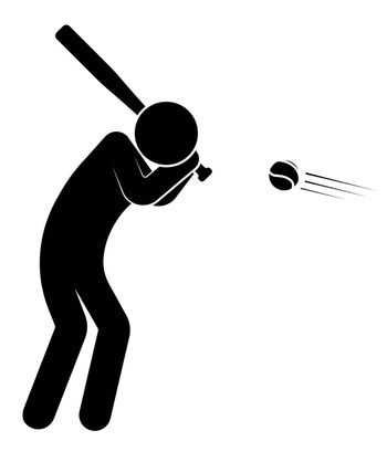 stick figere, player man hits ball with sports wooden baseball bat. American national sport. Active lifestyle. Vector