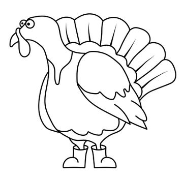 Funny turkey in a linear style for coloring. Children games. Children drawing for coloring. Vector