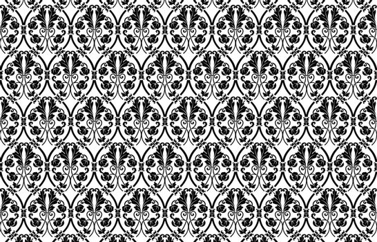 Damask pattern, black damask pattern, floral ornamental design, Wallpaper in the style of Baroque. White and black floral ornament. for wallpapers, print, textile, packaging, design of luxury products