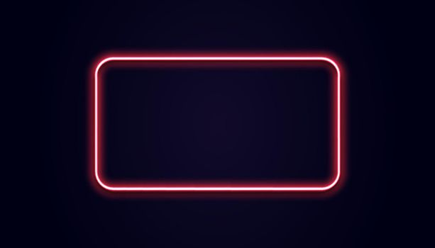 Neon rectangle banner. Vector luminous squared shape. Glow red light. Retro pink lamp on black wall.