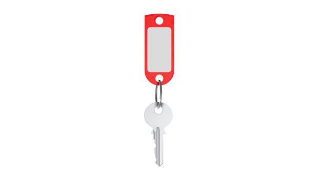 Plastic Keychain Mockup With Key Front View