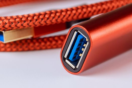 Female connector red cable USB3.0 on isolated white background