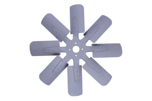 new grey truck engine cooling fan with metal blades isolated on white background. Spare parts