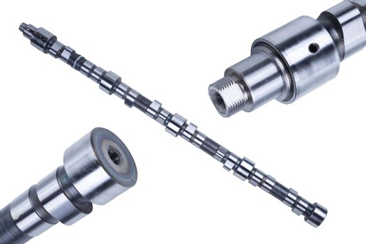 Truck camshaft on white. Industrial concept. close-up, engineering, service concept