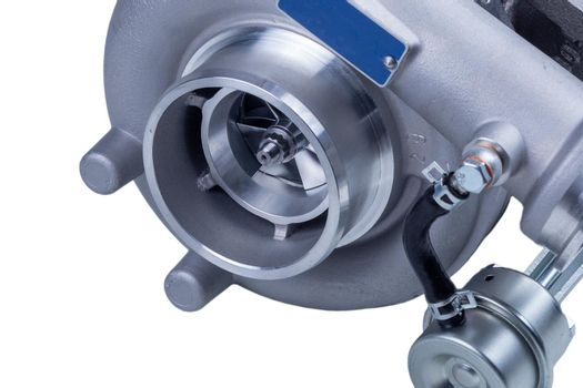 new modern turbocharger of the Russian truck, isolated on a white background. turbocharger to increase the power of the car engine.