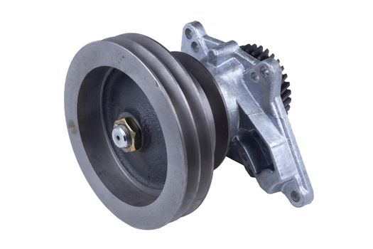 the hydraulic coupling of the truck fan drive is isolated on a white background