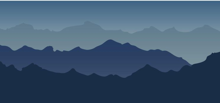 Mountain landscape view blue tone silhouette background. Vector illustration
