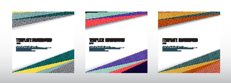 Set of abstract template header and footers colorful geometric triangles design with halftone on white background and copy space. Decorative website layout or poster, banner, brochure, print, ad. Vector illustration