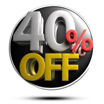 40% OFF on white background illustration 3D rendering with clipping path.
