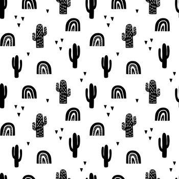 Scandinavian cactus seamless pattern. Vector black and white scandi print. Child trendy background.