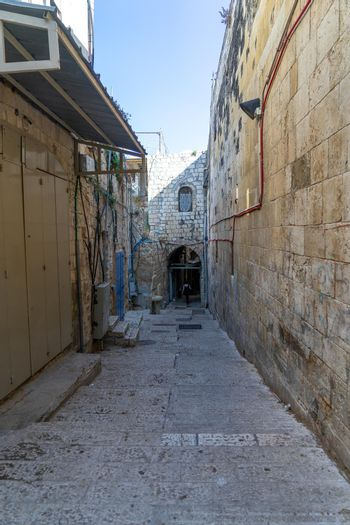 Empty streets of Jerusalem Old city during corona virus closure