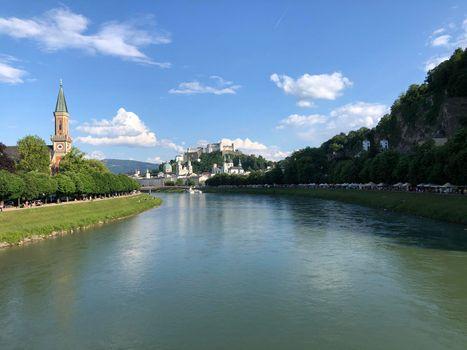 The Salzach river in Salzburg