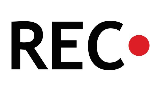 Recording sign. Record icon with REC text and red circle. Simple vector design element isolated on white background.