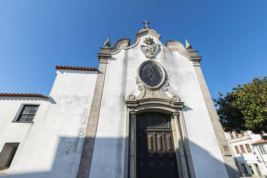 Architectural detail of the Church of Mercy (Santa Casa Misericordia de Fao) in the historic city center of Esposende, Portugal on a winter day