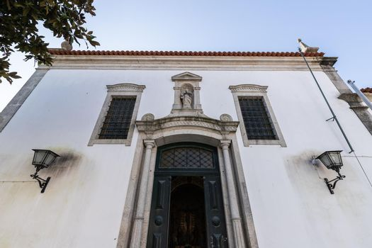 Architectural detail of the Church of Mercy (Santa Casa Misericordia de Fao) in the historic city center on a winter day