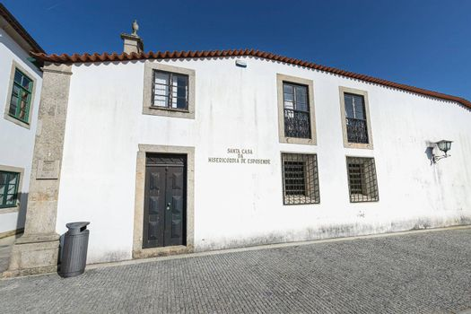 Esposende, Portugal - February 21, 2020: Architectural detail of the Sacred Art Museum of the Church of Mercy (Santa Casa Misericordia de Fao) in the historic city center on a winter day