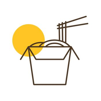 Noodles in thin line box with chopsticks