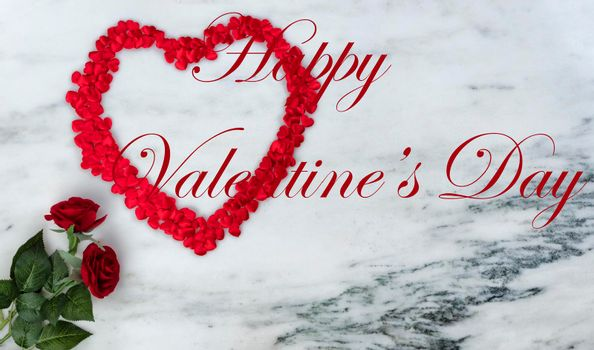 Happy Valentines Day with lovely rose flowers and outline of red heart on natural marble stone including text