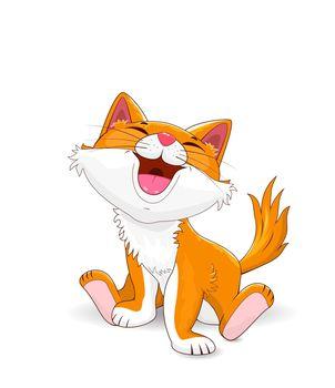 Small cartoon kitten on a white background. The kitten sits and smiles. Joyful kitty.
