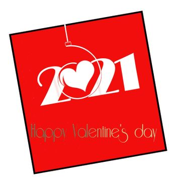 Modern 2021 Valentine's card in red. Text Happy Valentines day. Illustration