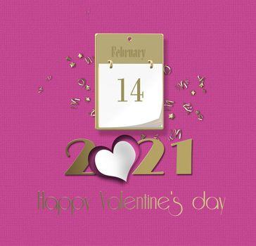 Elegant pink Valentine's card 2021. Digit 2021, calendar, 14 February on pink background. 3D render