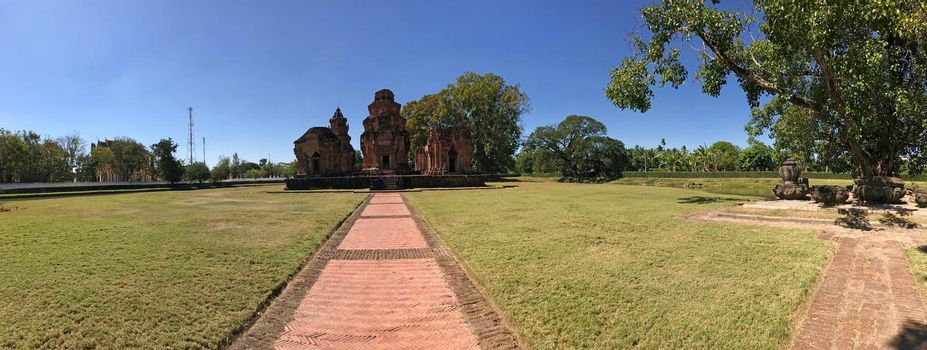 Panorama from the Khmer temple Prasat Si Khoraphum