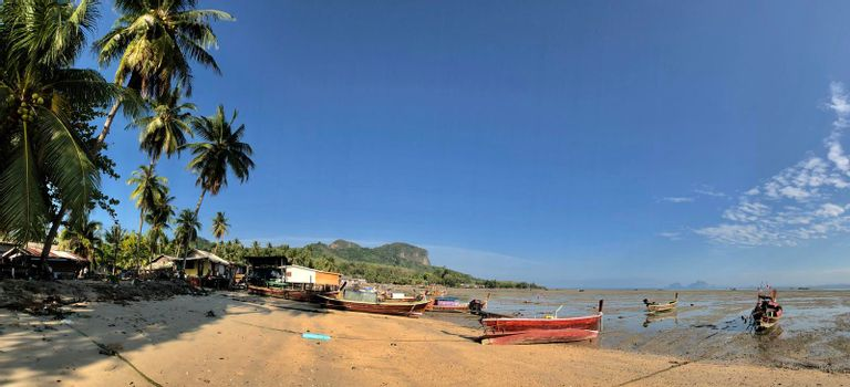 Panorama from Long-tail boats during low tide