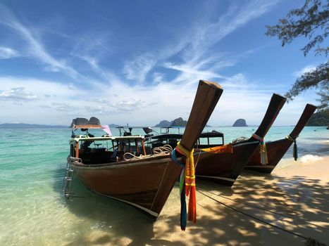 Long-tail boats on the beach
