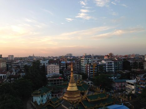 Yangon city view with the Shwe Phone Pwint Pagoda during sunset