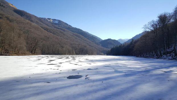 Ice and snow at a lake in Biogradska Gora