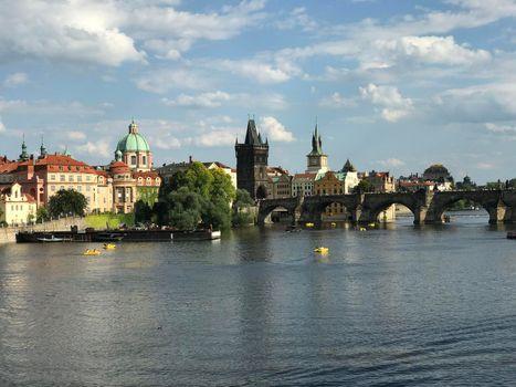 The vltava river and charles bridge