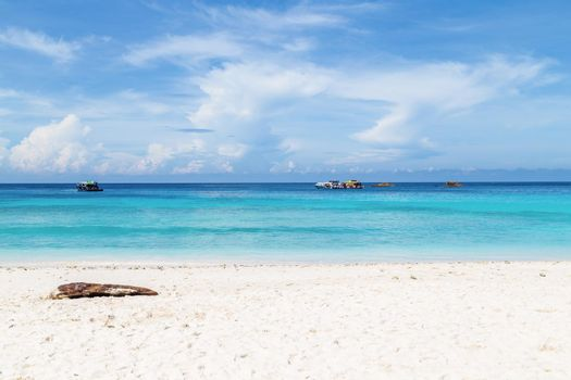 Wave of the sea on the sand beach at Similan islands, Thailand.