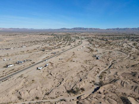 Aerial view of Slab city, California