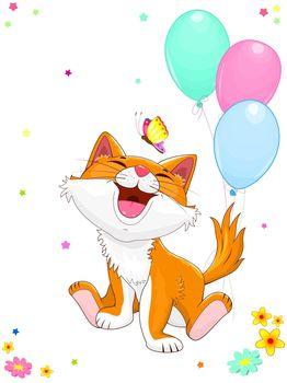 Smiling cartoon kitten sitting next to balloons. Joyful kitty and butterfly.