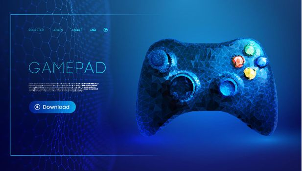 Low poly gamepad 3d abstract vector illustration. Polygon vector wireframe concept on blue background.