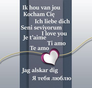 I love you text in different Europian languages.