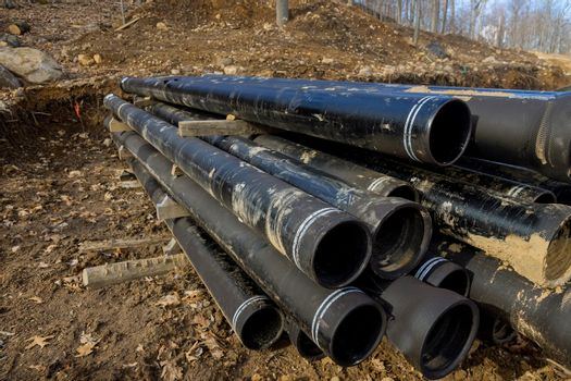 Polyethylene water pipes of prepared for laying a to supply water to the house