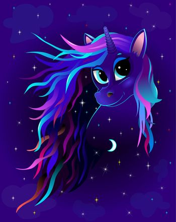 A unicorn with a multicolored mane against a dark sky with shining stars.